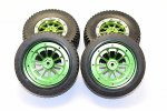 AXIAL Racing EXO Rubber Front & Rear Tires With Nylon Rims Frame & Alloy 10 Poles Beadlock Rims - 2prs set - GPM EX889+1003FR
