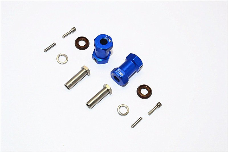 Axial Racing RR10 Bomber Aluminium Wheel Hex Adapters 21mm Width (Use For 4mm Thread Wheel Shaft & 5mm Hole Wheel) - 1pr set - GPM RR010/215