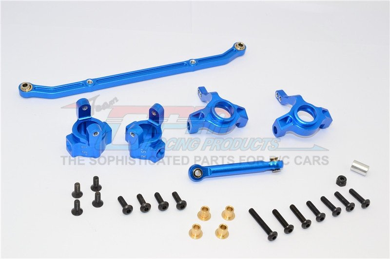 Axial Racing SCX10 Alloy Front C-Hub & Front Knuckle Arm (Toe-in 5 Degree ree) & Scx160 Tie Rod - 6pcs set - GPM SCX019021/5D