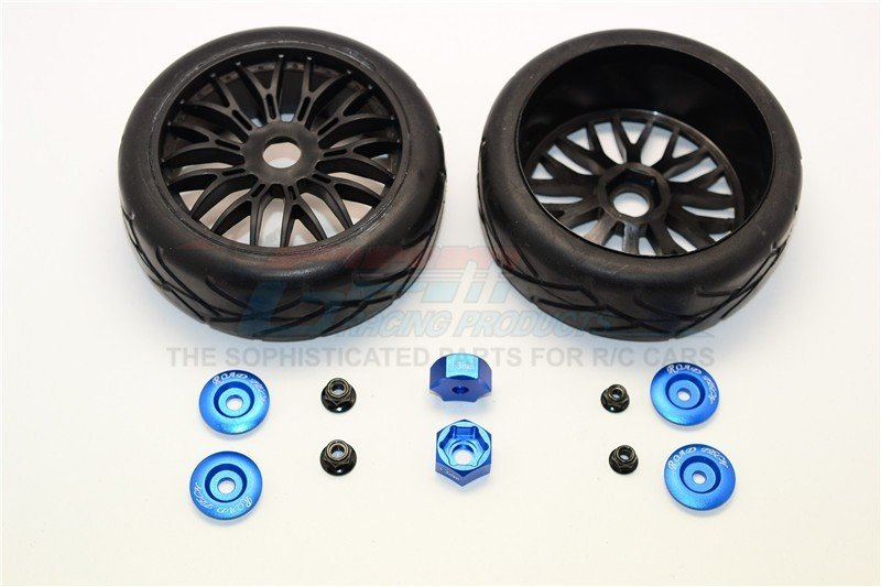 Rubber Radial Tires With Plastic Wheels With 12mm To 17mm Converter & 4mm & 5mm Wheel Lock - 2Pcs Set - GPM TRX88910/2