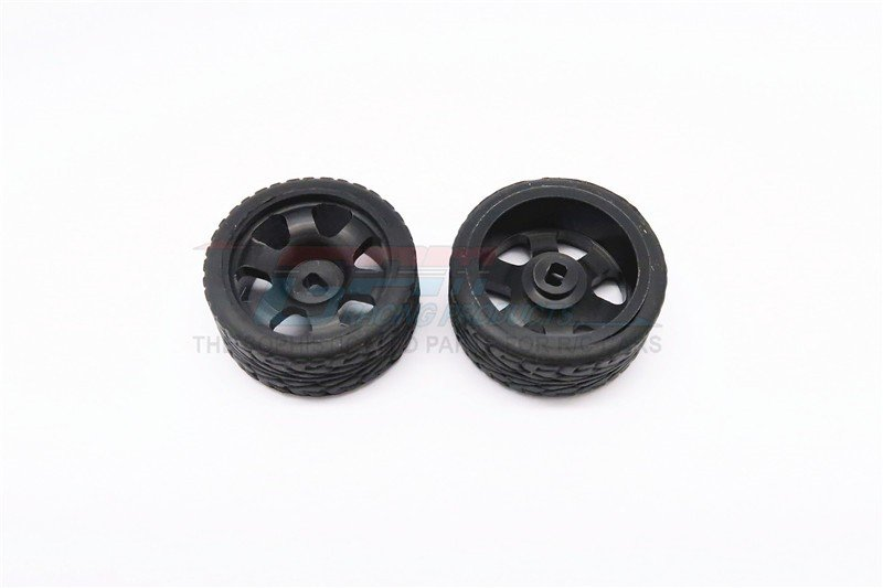 Mini-z AWD Delrin Rear Wide Ridge Rims (6p, 1.0mm Off set , Width 11mm) With Tires - 1pr set - GPM DMZA601RW10