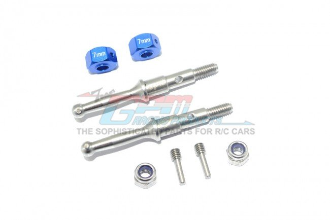 TAMIYA T3-01 DANCING RIDER Stainless Steel Rear Wheel Shaft W. Aluminum Hex Adapter (7mm) - 8pc set - GPM T3023SR/7MM