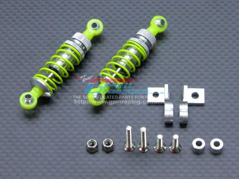 Tamiya 1/14 Truck King Hauler /Globe Liner /Ford Aeromax /Mercedes Benz 1838ls /1850l Alloy Front Adjustable Spring Damper With Lock Nuts & Collars & Mounts & Screws - 1pr set - GPM TRU050DPF