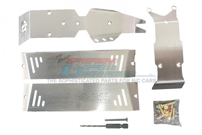 TRAXXAS E-REVO VXL Stainless Steel Skid Plates For Front, Center, Rear Chassis - 24pc set - GPM ERZSP1