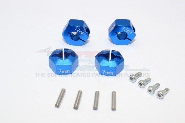 TRAXXAS 4WD GT4 TEC 2.0 Aluminum Hex Adapters 7mm Thick - 12pc set - GPM GT010/12X7MM