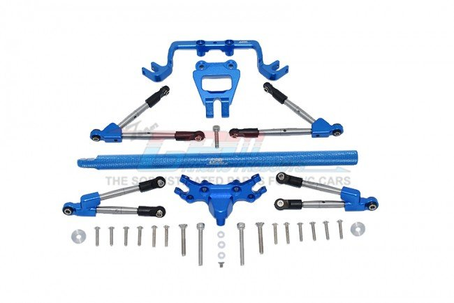 TRAXXAS HOSS 4X4 VXL Aluminum Front&rear Tie Rods With Stabilizer +Center Brace Bar&mount - 31pc set - GPM HS049FR25