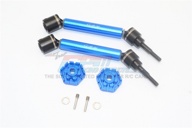TRAXXAS MAXX MONSTER TRUCK Harden Steel+Aluminum Front/Rear Adjustable CVD Drive Shaft+Hex Adapter - 8pc set - GPM TXMS123HEX