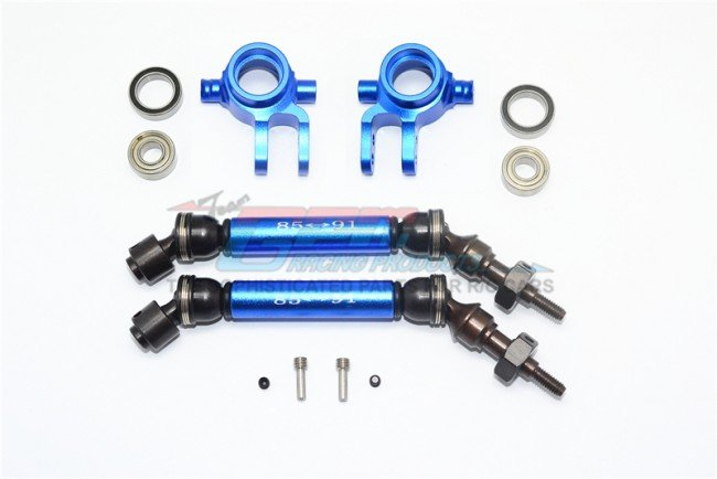 TRAXXAS Slash 4x4 Steel+Aluminium Widen Front CVD Drive Shaft W. Knuckle Arm - 12pc set - GPM SSLA1280FH21